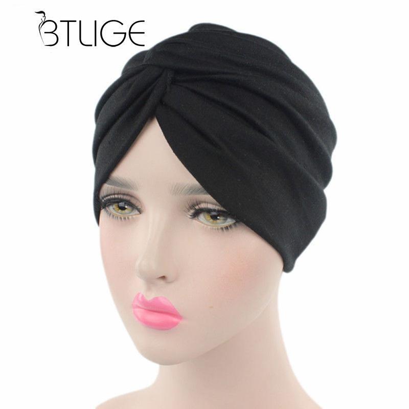 BTLIGE Stretchy Cotton Turban Head Wrap Band Sleep Hat Indian Caps Scarf  Hats Ear Cap Hair Accessories Drop Shipping