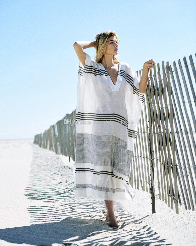 Strand Vertuschen Kaftan Bademode Frauen Kleid Tunika New Rayon Striped Lose Badeanzug Bikinis Plavky Pareo Vertuschungen Salidas De Beachwear