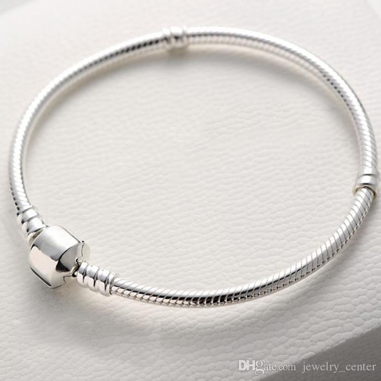 Authentische 925 Sterling Silber Armbänder Schlangenkette mit Logo Armband passen Pandora Charms Perlen Schmuck für Frauen und Männer beste Geschenk