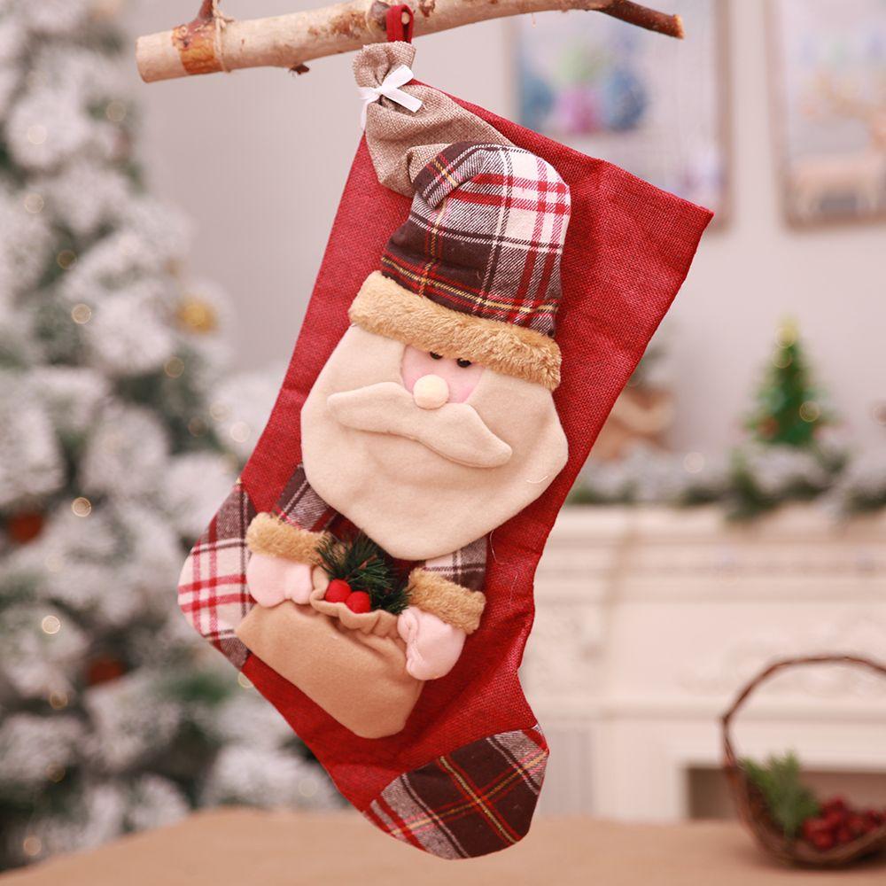 Christmas Tree Stocking Holder.Christmas Tree Ornaments Decoration Large Storage 3d Xmas Santa Claus Stocking Holder Snowman Socks To Hang Candy Gift Navidad
