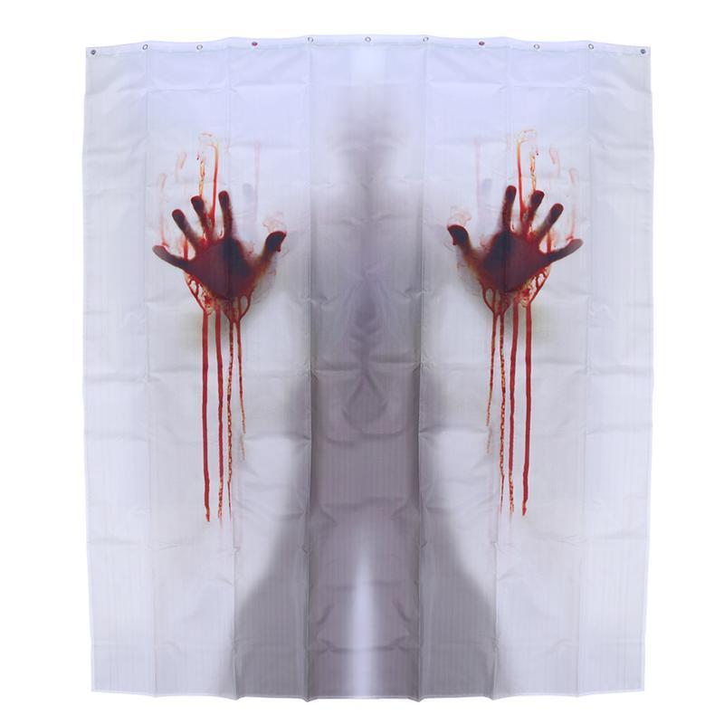 2018 Bathroom Curtain Handprints Halloween Bloody Creepy Shower