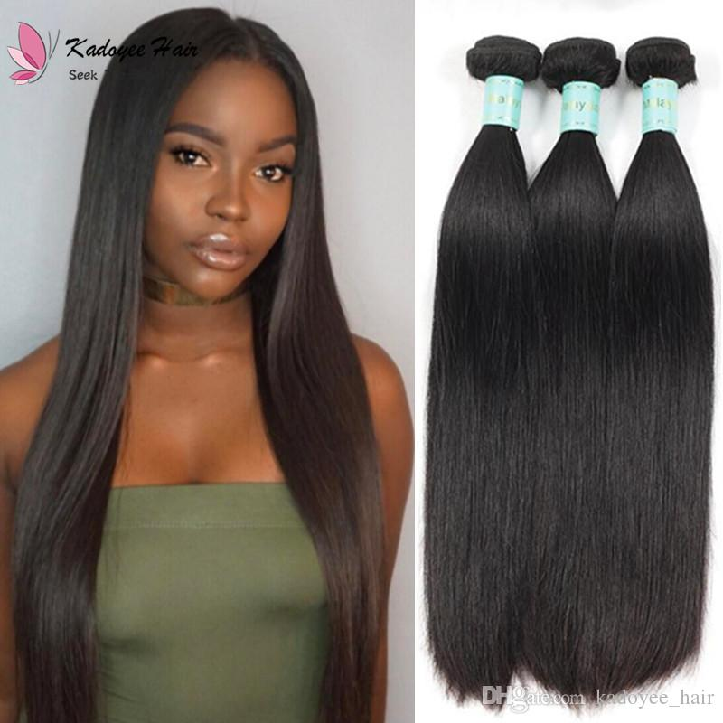 1b Natural Black Silky Straight Remy Human Hair Bundles Weave Virgin
