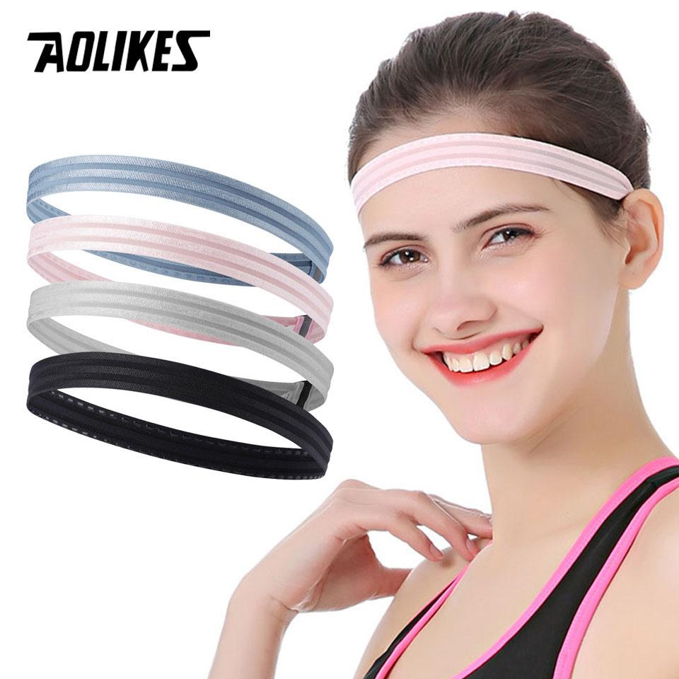 cfe4dc95432 2019 AOLIKES Women Men Yoga Hair Bands Sports Headband Anti Slip Elastic  Sweatband Yoga Running Biking Headscarf Outdoor Sport From Xuelianguo