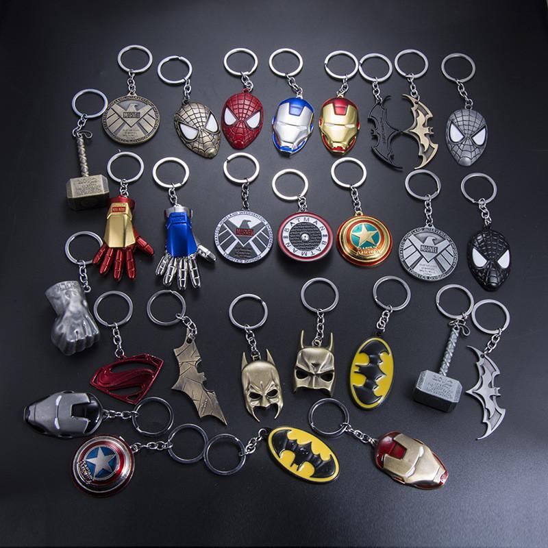 38 estilo Marvel Avengers Thor Mjolnir Hamer Sleutelhanger Capitán América Escudo Hulk Batman enmascarador Llavero Sleutelhangers gota Verzending