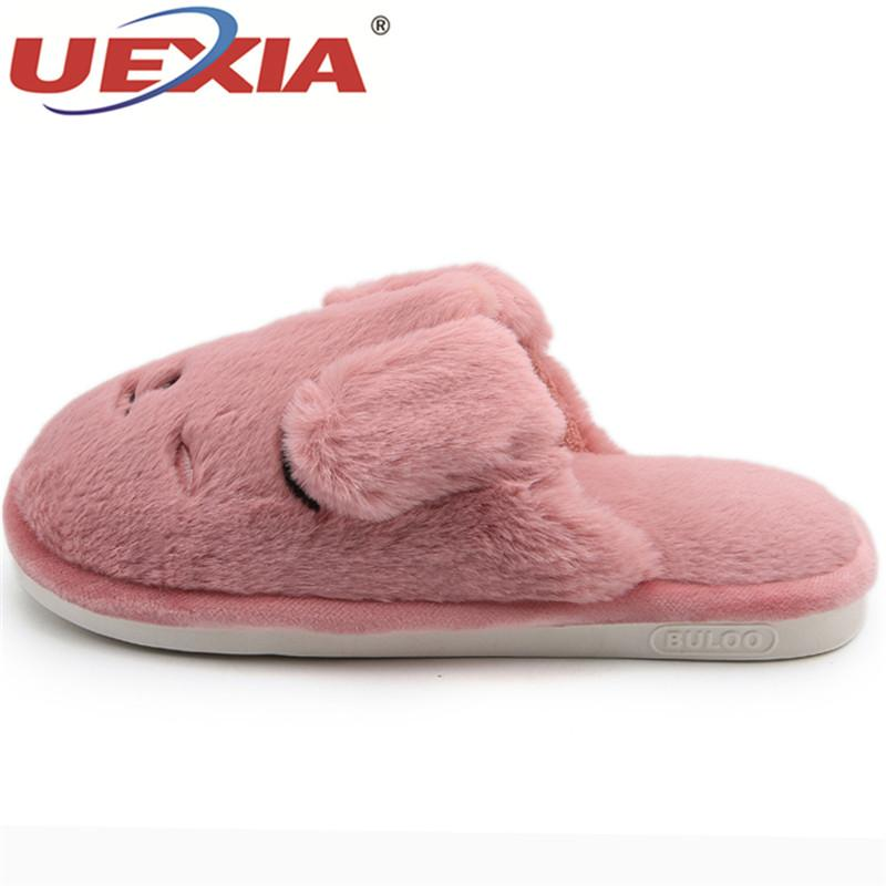 3bff6337cf7c UEXIA Indoor Slippers Home Shoes Women Winter Home Slippers Women With Fur  Warm Plush Female Animal Ladies High Quality Mens Boots Winter Boots From  ...