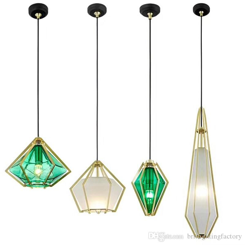 Diamond Glass Pendant Light Electroplating Glass Dining Room Pendant Lamp Creative Personality Green Hanging Lights Kitchen Nordic Lighting