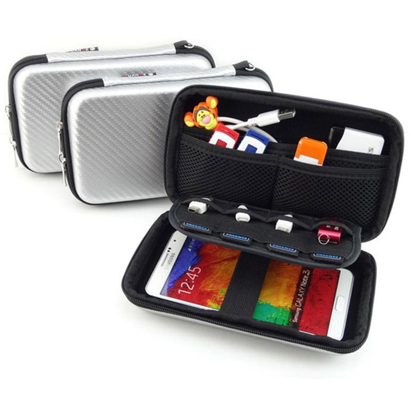 "2.5"" Digital Gadget Pouch Travel Silver Storage Bag For HDD,USB Flash Drive ,SD Card, Earphone, Phone, External Battery GH011"