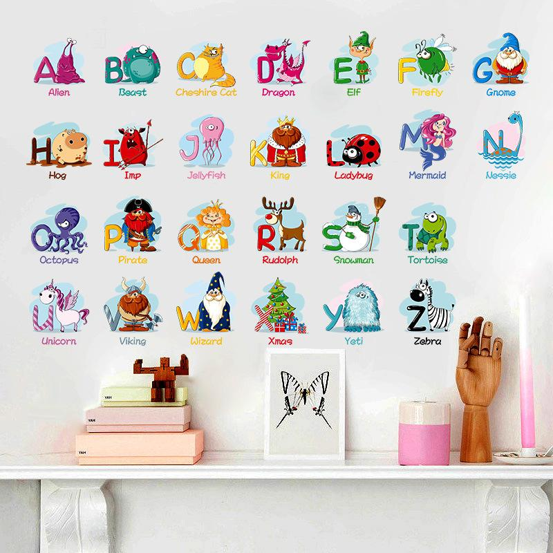 Puzzle Early Education Paste 26 English Alphabet Wall Stickers For Kids  Rooms Cartoon Animals Art Wall Background Decal Mural Wall Stickers Music  Wall ...