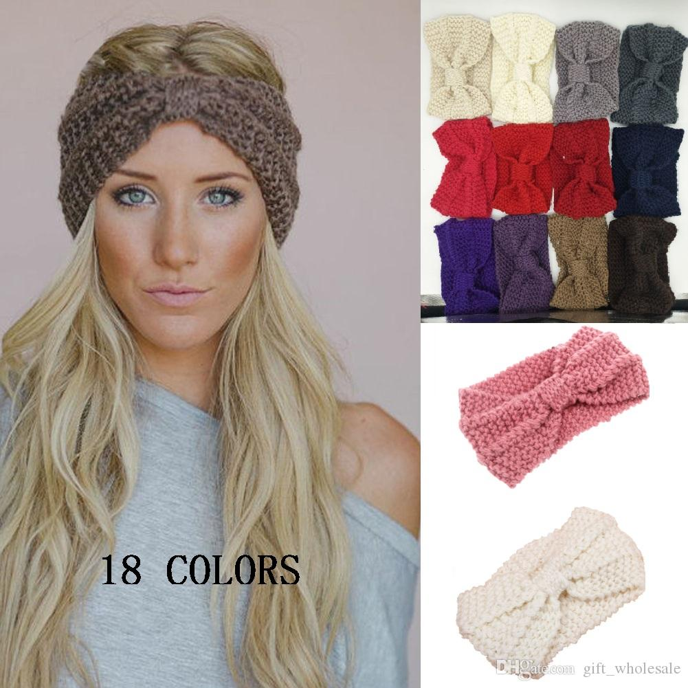 1a9662f965e 2019 Lady Cozy Thick Knit Headband Turban Ear Warmer For Women Winter  Headband Bow Stretch Hairband Headwrap From Gift wholesale