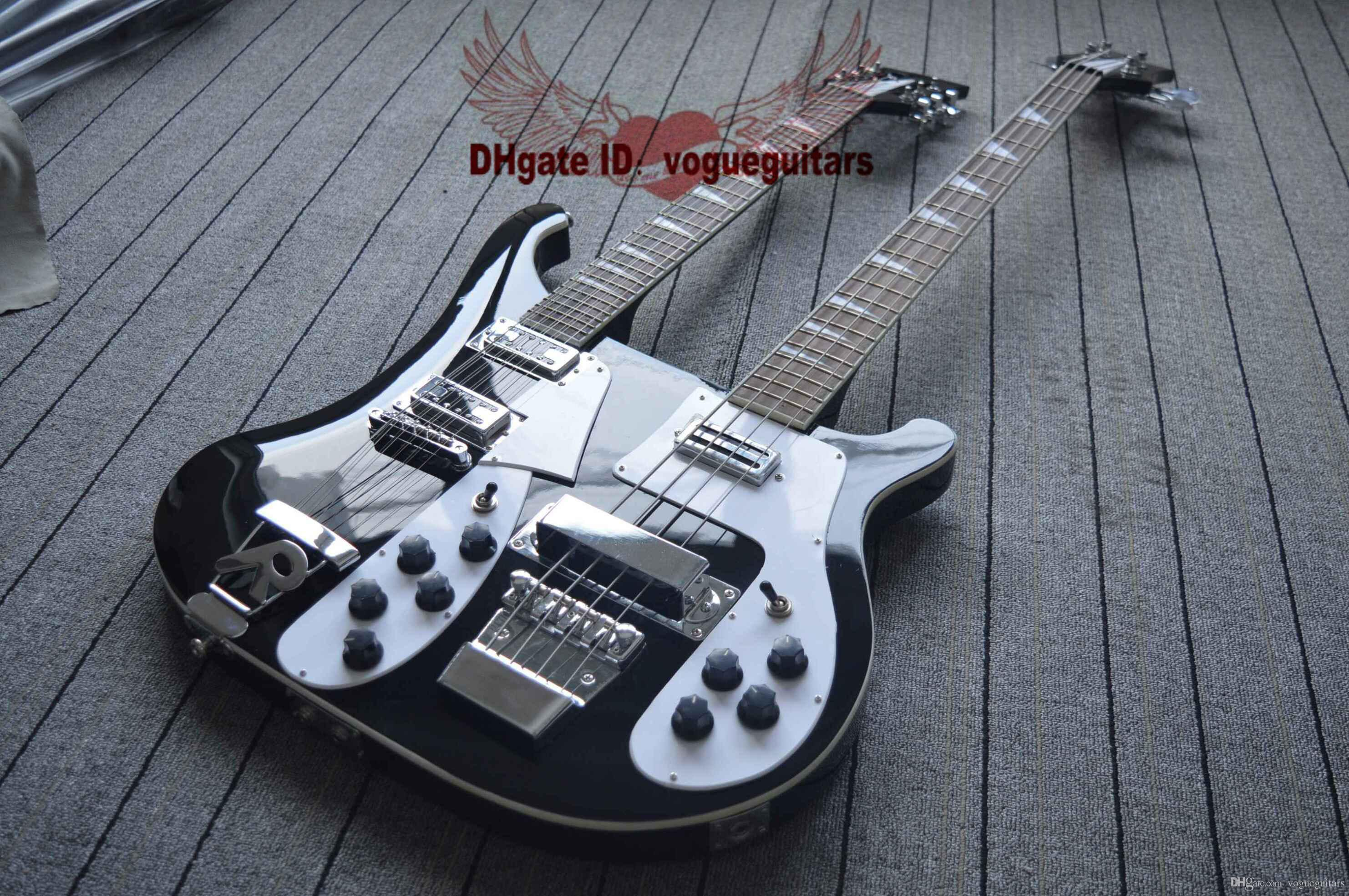 6e434a22acc8 Compre Negro Nuevo Double Neck 4 Cuerdas Guitarra Eléctrica Y 12 Cuerdas  Guitarra Eléctrica Envío Gratis A $538.2 Del Vogueguitars | DHgate.Com