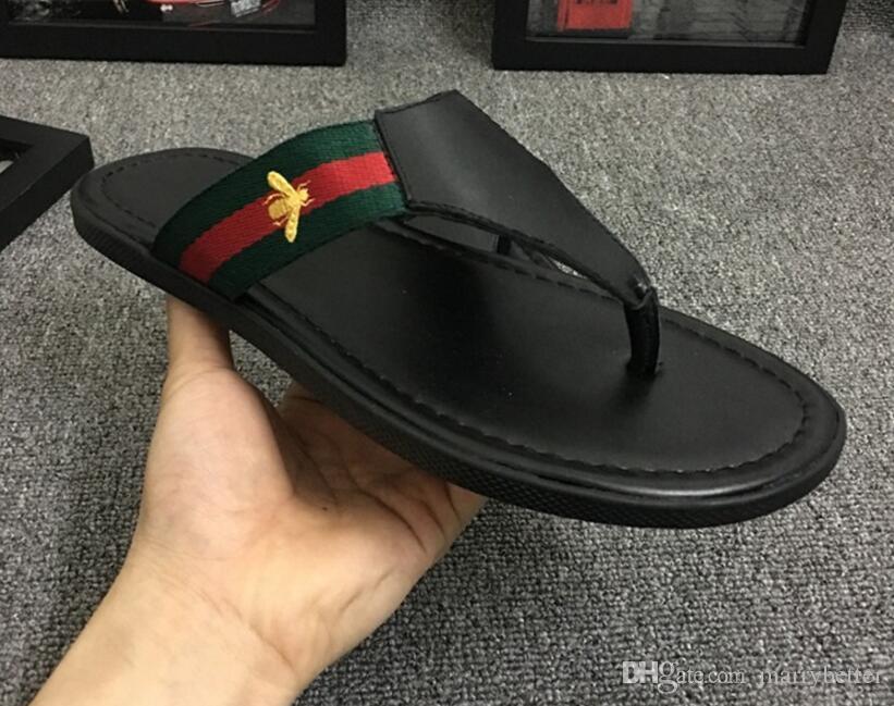da39272b 2018 Black Rubber Slide Sandal Slippers Green Red White Stripe Fashion  Design Men Classic Summer Flip Flops dh2h45