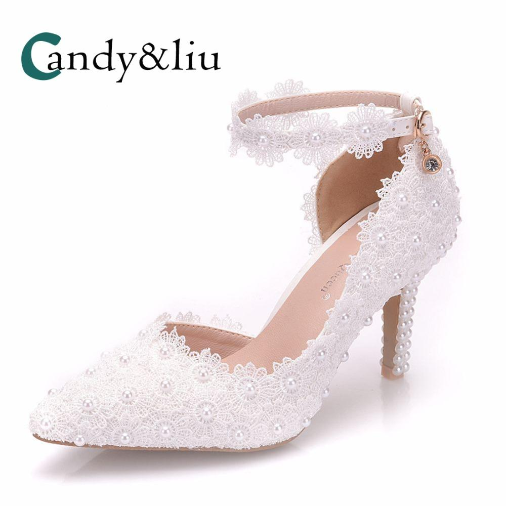 0dd1b5a18865 White Lace Wedding Shoes Pearl Beaded Appliques Pointed Toe With Ankle  Strap High Heel Women Sandals Party Banquet Evening Dress Pink Shoes Munro  Shoes From ...