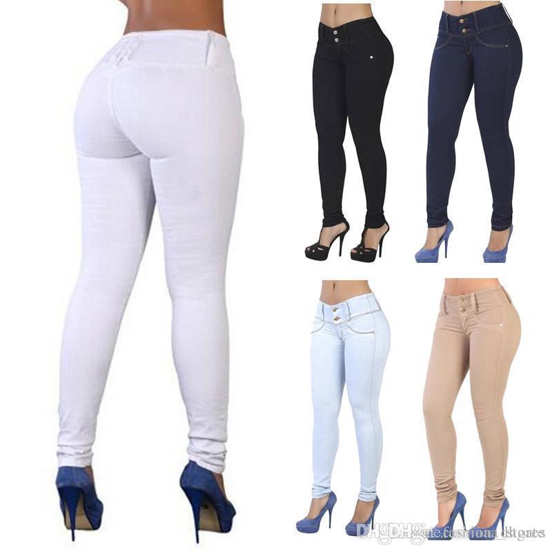 24162fa2d0aa Pantalon Push Up Pantalon Femme Vêtements Unisexe Couleur Unie Coton  Élégante Slim Jeans Slim Couleur