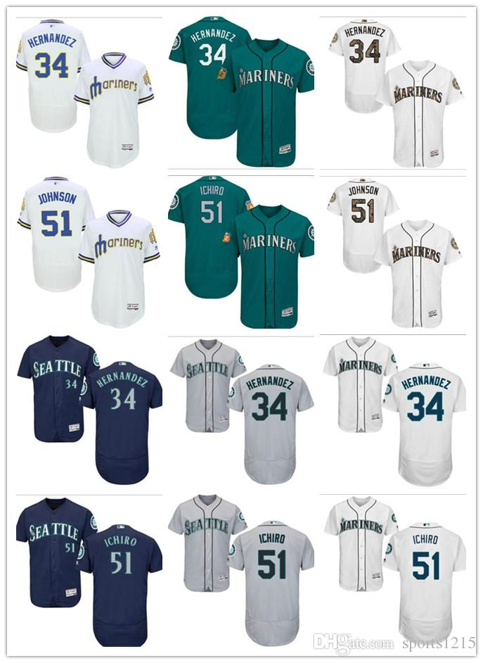 20fc9a2412e Custom Men s Women Youth Seattle Mariners Jersey  34 Felix Hernandez ...