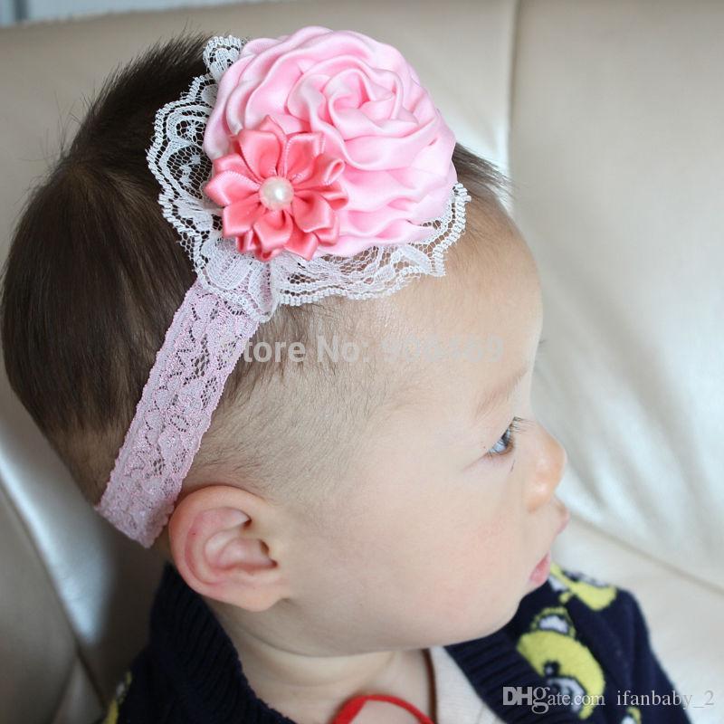 Großhandel Blumen Haarband Rose Spitze Blume Stirnband Elastisches ...