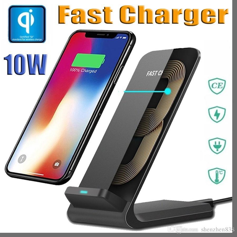 10 W Schnelle Qi Drahtlose Ladegerät Handy Pad Für Samsung S9 S8 Note8 S7 Wireless Charging Pad Für Iphone Xs Xr X 8 Puls Ladegerät Schnelle Farbe Handy-zubehör Kabellose Ladegeräte
