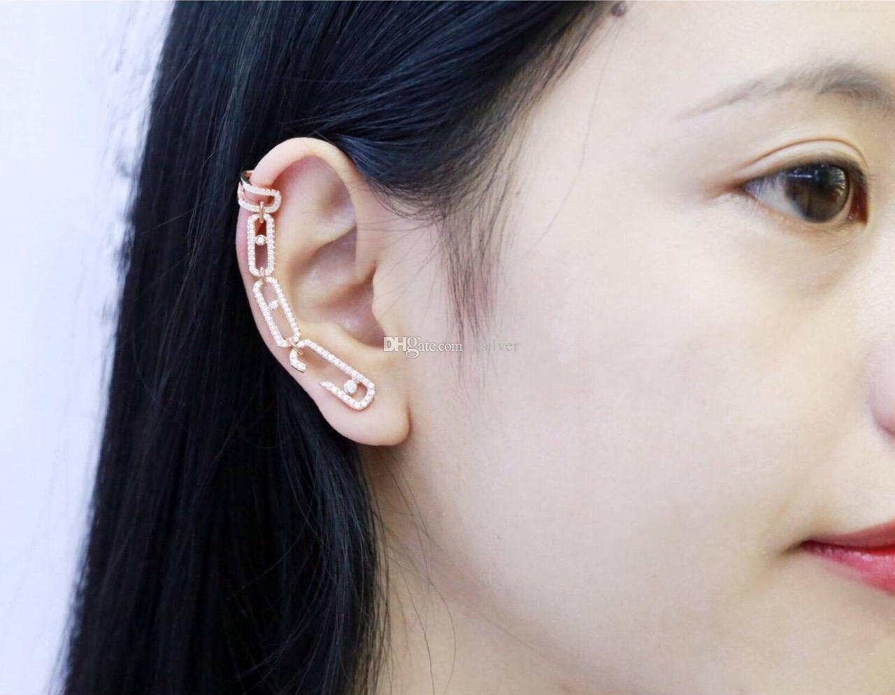 Mulheres Jóias de Prata Esterlina 925 boucle d'oreille femme 2017 Geométrica Em Movimento pedra Cuff Ear Brincos 3A Zircônia Unicórnio Pin Assimétrico