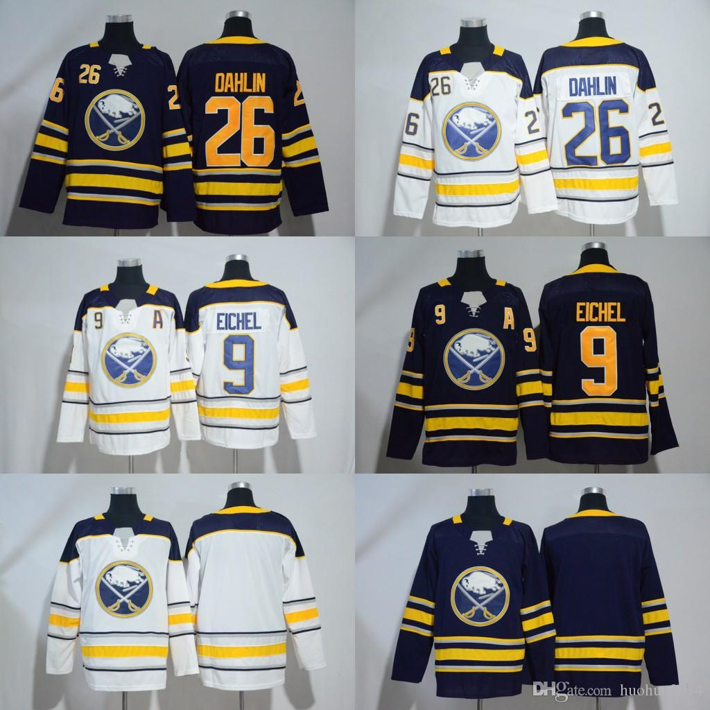 lowest price 1faa9 62735 53 Jeff Skinner Jersey 2018-19 Buffalo Sabres Jersey 9 Jack Eichel 26  Rasmus Dahlin Hockey Jerseys White Navy Free Shipping