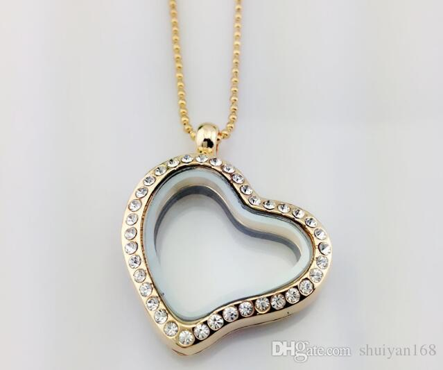 Glass Floating Charm Pendant Necklace Locket Charm Silver Heart Diamond Necklace Alloy Rhinestone Jewelry for Valentine Gift Christmas