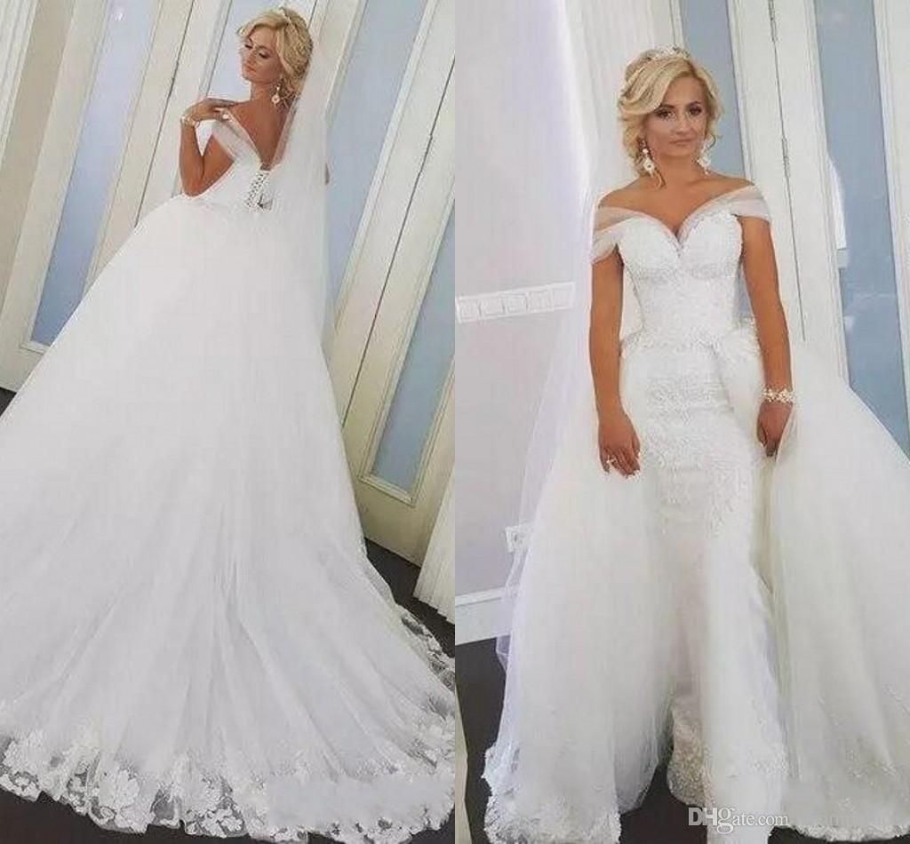 Formal Overskirts Wedding Dresses Mermaid Lace With Off Shoulder