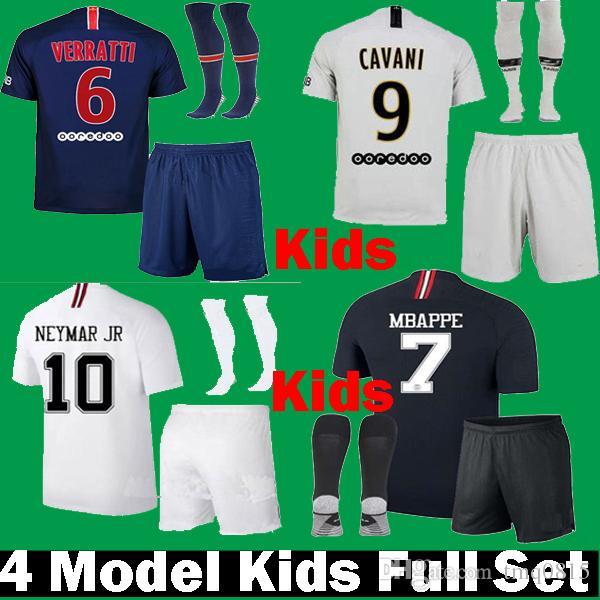 c28dda96c Compre 2018 2019 Crianças Mbappe VERRATTI CAVANI Crianças PSG Terceiro  Preto Branco Camisas De Futebol Uniforme Conjunto 18 19 Kits De Fora  Draxler Paris ...