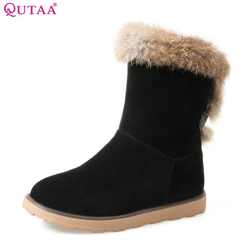 0f47e541115cc Compre QUTAA 2019 Botas De Invierno Zapatos De Mujer Botas De Nieve Tobillo  De Mujer Mantener El Pelaje Cálido En El Interior Cuñas Tacón Tamaño 34 43  A ...