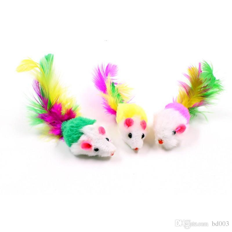 Novelty Creative Teasing Cat Toy Soft Pet Playing Supplies Soft Fleece  Colorful Feather Tail False Mouse Cats Toys Popular 0 58hz dd