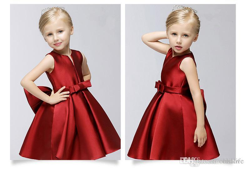 fcd61c52cc1 Cheap A Line Satin Girls Dresses For Weddings Burgundy Color Sleeveless  Zipper Back Cheap Formal Girl S Dresses Junior Flower Girl Dresses Little  Girls ...