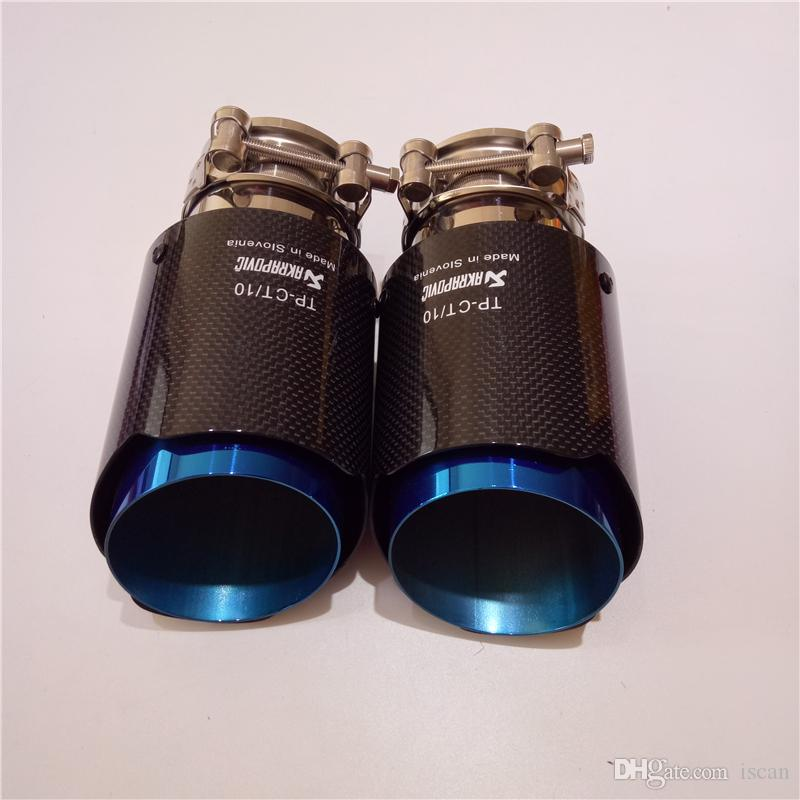 Akrapovic Car Bright Carbon Fiber Exhaust End Pipes Single Muffler Tips For Universal Exhaust Tail Pipes