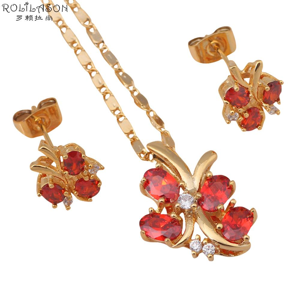 Flying buttefly Gold Tone Earring Necklace Fashion Jewelry Sets Red Garnet Crystal Health Nickel & Lead free JS319