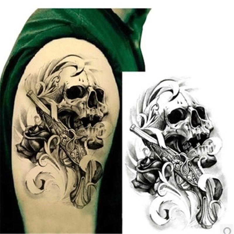 Sexy Black Death Skull Shoulder 3d Tattoo Waterproof Temporary