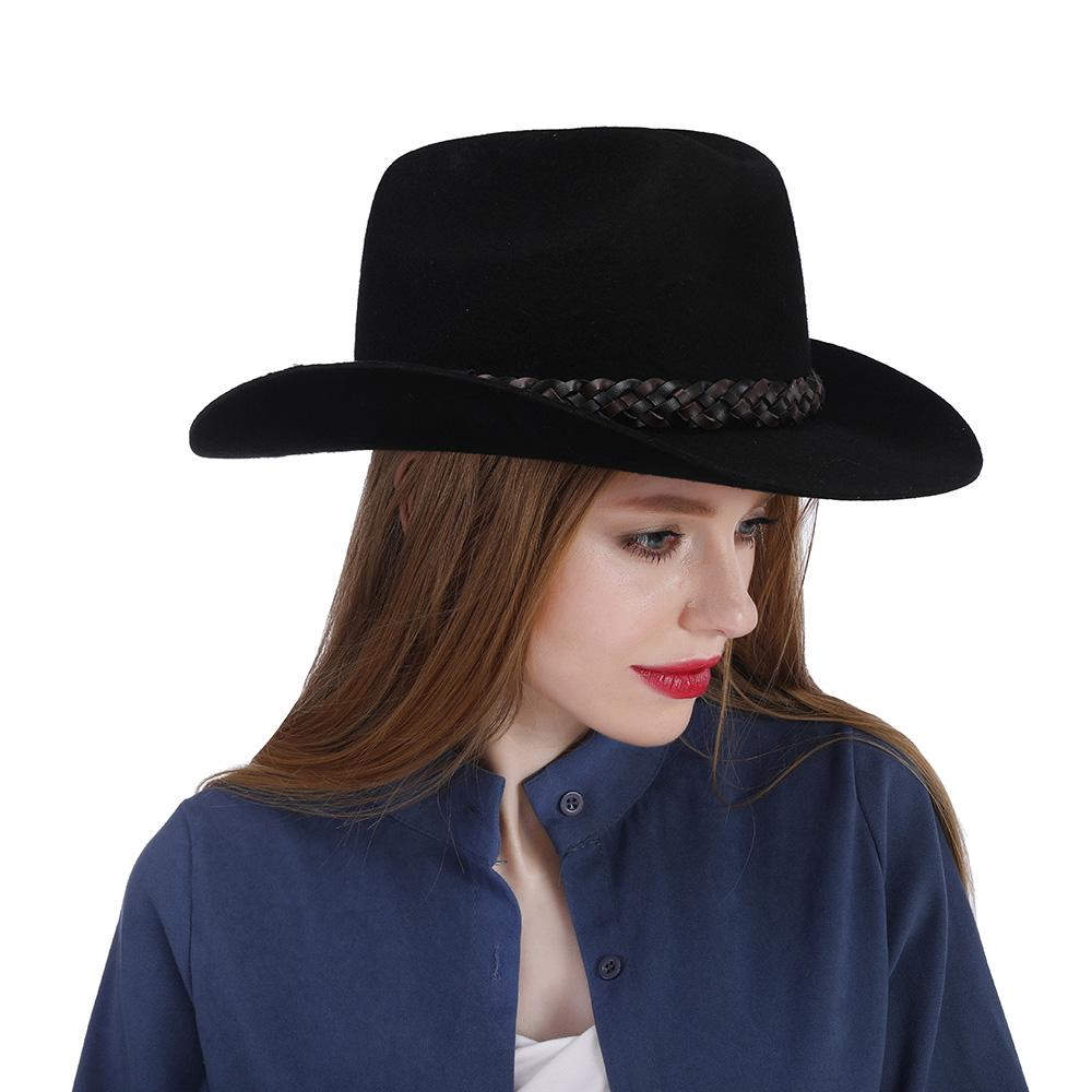 100% Wool Black Women Western Cowboy Hat For Autumn Lady Roll Up Brim  Sombrero Cap With Fashion Leather Belt Size 57 58CM Fascinator Hats Tilley  Hat From ... 4c7c5fdc174