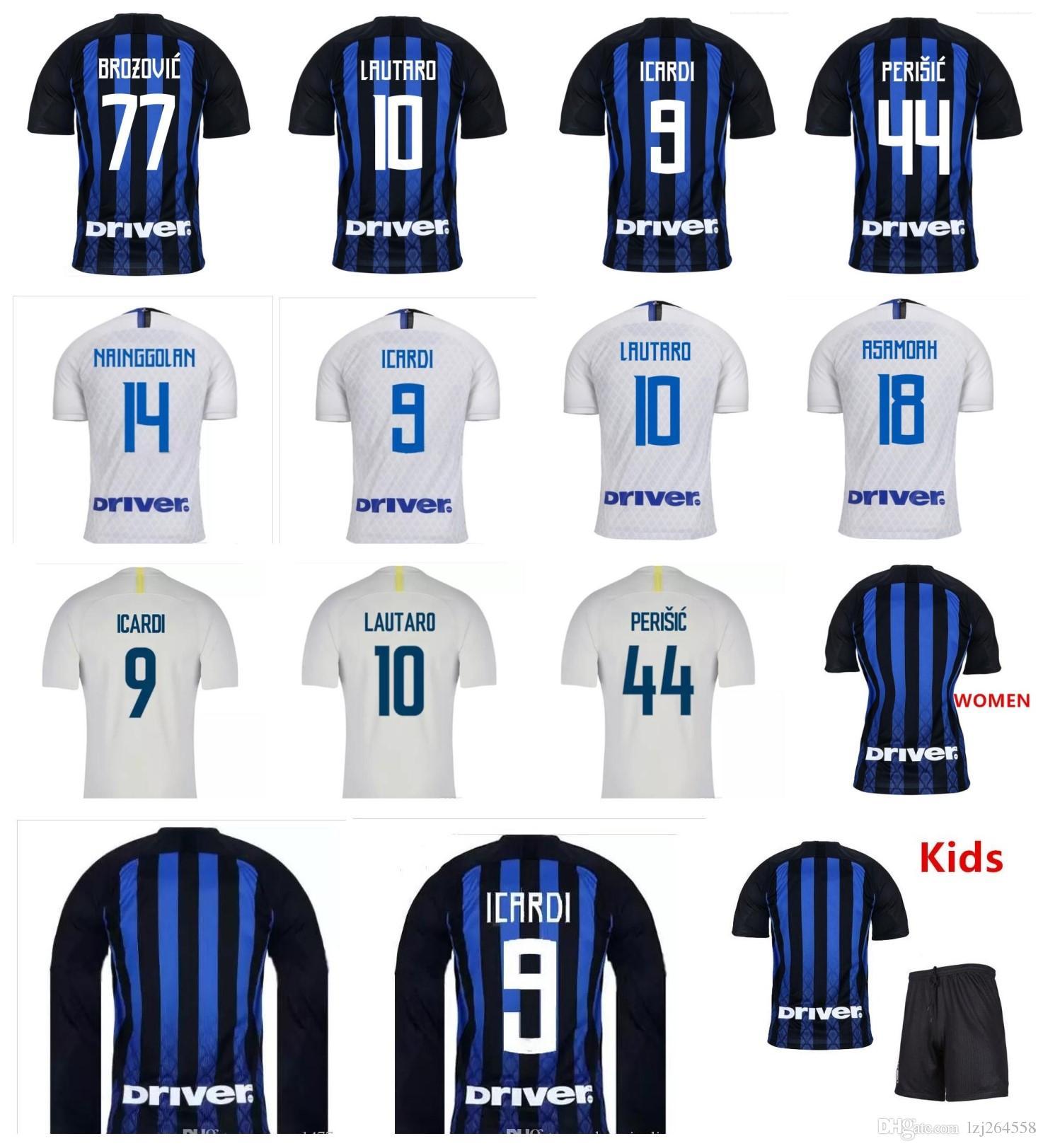 Novo Topo Thai 2019 Inter Jersey 18 19 Camisa de Futebol camisa de Futebol  MIU ICARDI Uniformes PERISIC Nainggolan Lauturo Skriniar 2018 Kits Para  Crianças fd16d7b5faeef