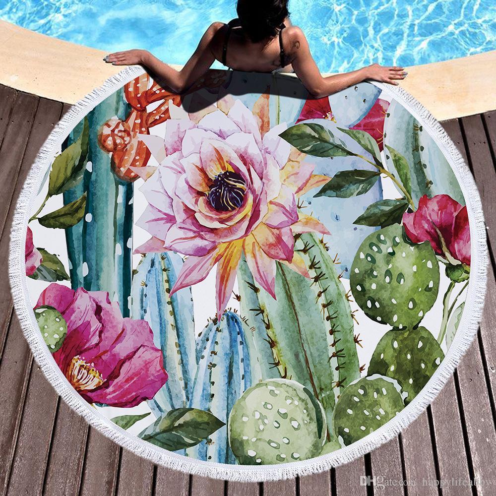 Kadın ananas Yuvarlak Plaj havlusu Pamuk Terry Çiçek Gül Yaz tropikal bitki tasarım Plaj Battaniye kaktüs çiçek Püskül Daire Havlu