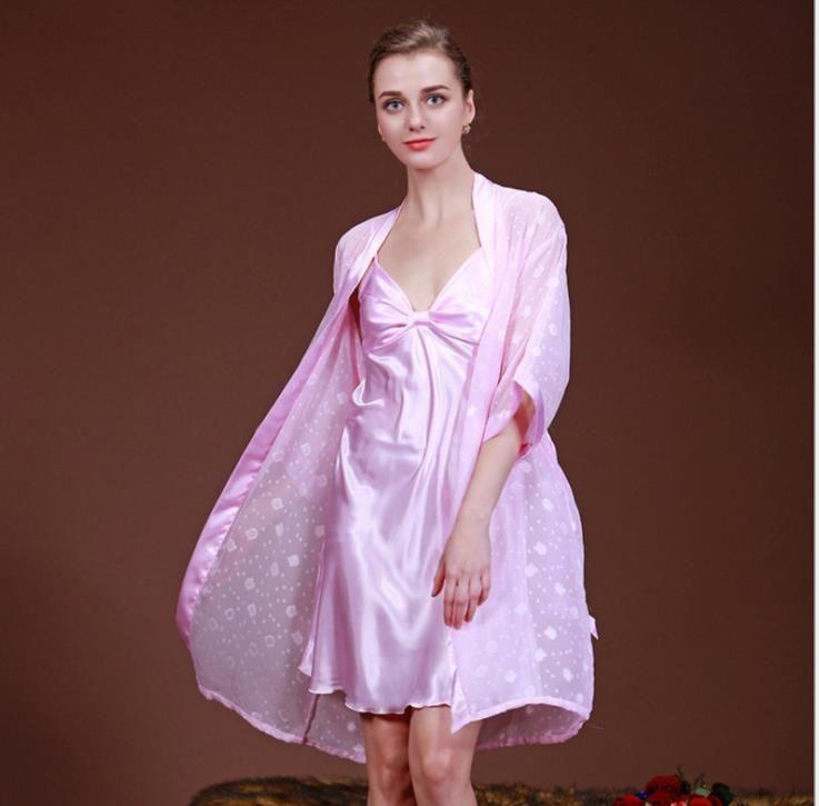 منامة الحرير في فصلي الربيع والصيف رقيقة الحرير تأثيث المنزل ارتداء اثنين من قطعة بدلة من الخزف الأزرق والأبيض