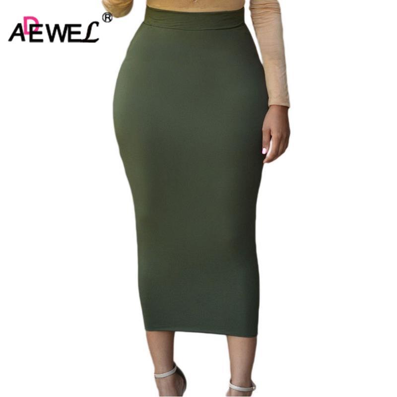 ADEWEL 2018 Sexy Women Bodycon Long Skirt Black High Waist Tight ... 963f8d624923