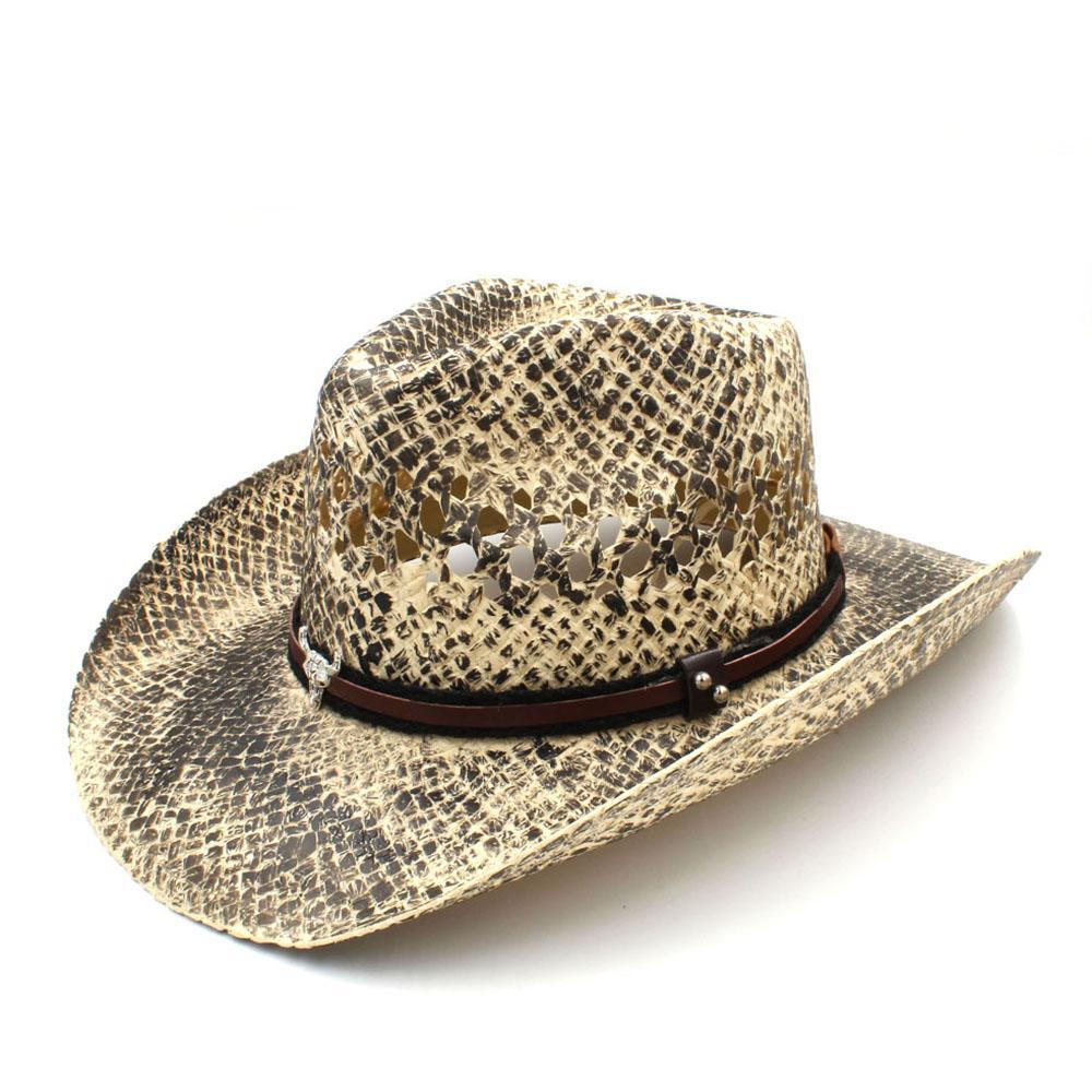 4c562de2d2840 Compre Moda Mujer Hombre Paja Sombrero Vaquero Occidental Tejido A Mano  Señora Papá Sombrero Hombre Vaquera Jazz Gorras Tamaño 56 58 CM A  29.99  Del ...