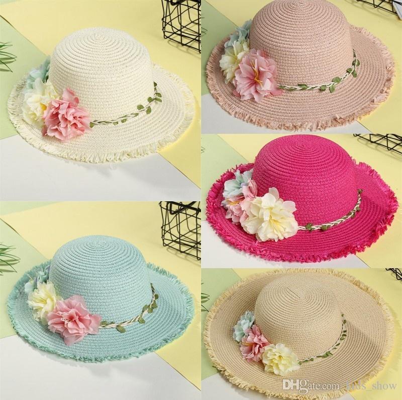 404fbc16 2019 Summer Flowers Children Straw Hat Baby Girls Beach Hats Kids Beach Sun  Hat Wide Brim Hat From Kids_show, $5.45   DHgate.Com
