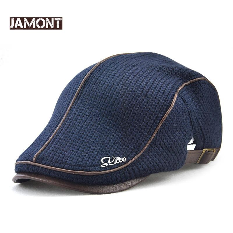 d8a6c7629fe 2019 Jamont Mens Knitted Wool Beret Cap Winter Warm Hat For Male Duckbill  Visor Flat Cap Boina Cabbie Caps Elderly Men Newsboy Hats From Naughtie