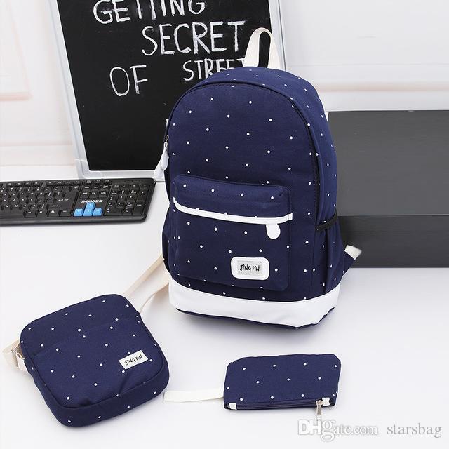 a509738142ac 2018 Girls Canvas Backpack 3 Pcs/set Women School Backpacks Schoolbag For  Teenagers Student Book Bag High Quality Boys Satchel Q-117
