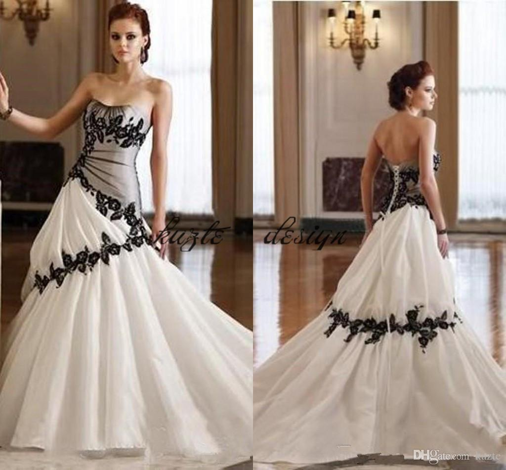 Popular Plus Size Gothic Wedding Gowns Buy Cheap Plus Size: Discount Vintage Gothic Country Wedding Dress Strapless