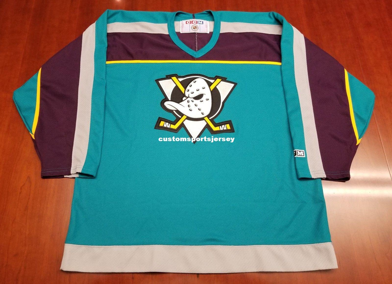 7487e9152f9 2019 Cheap Custom Anaheim Mighty Ducks Vintage CCM Retro Jersey 97 99 Teal  Stitched Retro Hockey Jersey Customize Any Name Number XS 5XL From ...