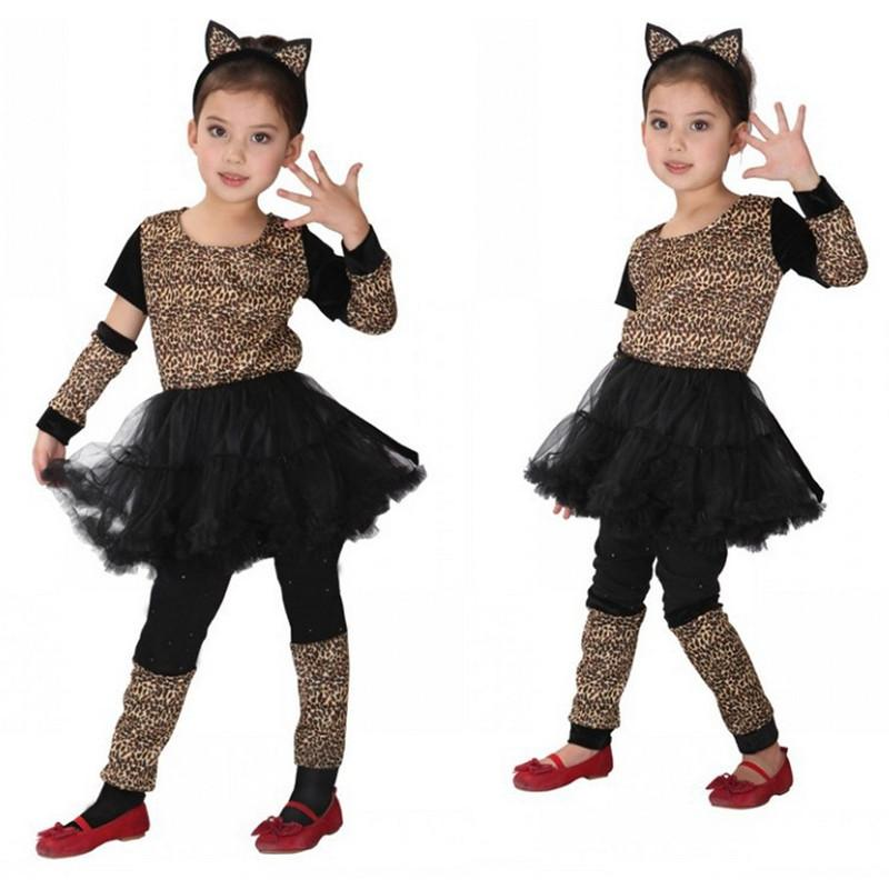 Disfraces Girls Kids Cat Kitty Cosplay Anime Masquerade Fantasia Regalo de Navidad Disfraces de Animales Leopard Niños disfraces