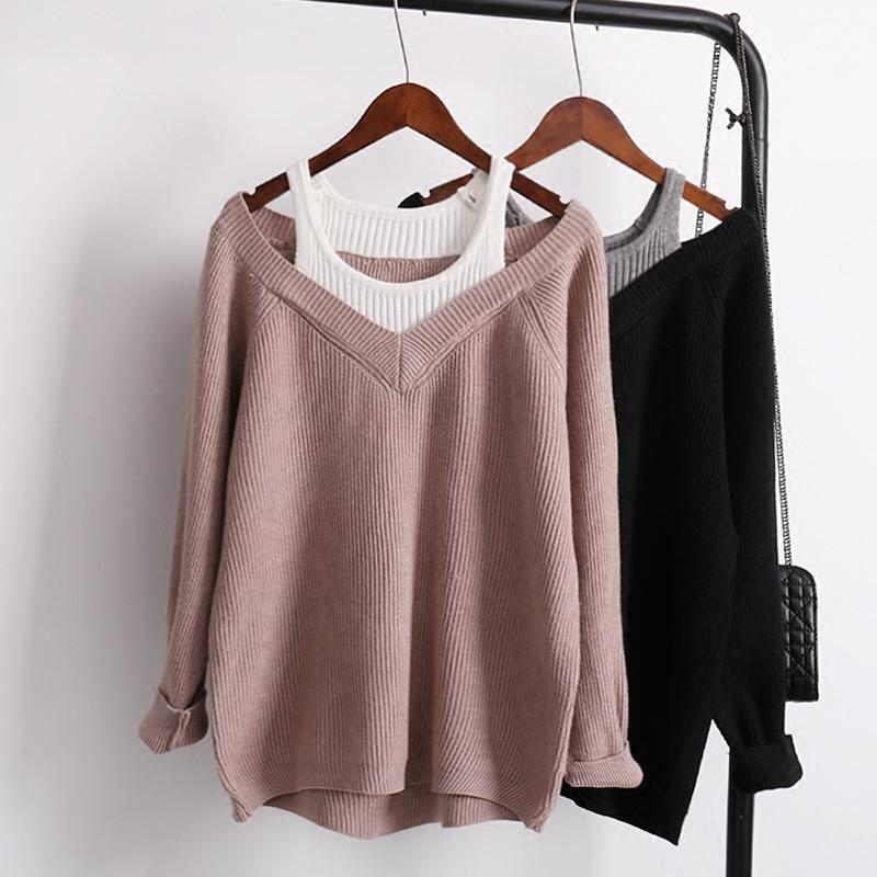 2019 Women Sexy Off The Shoulder Sweater V Neck Loose Oversized