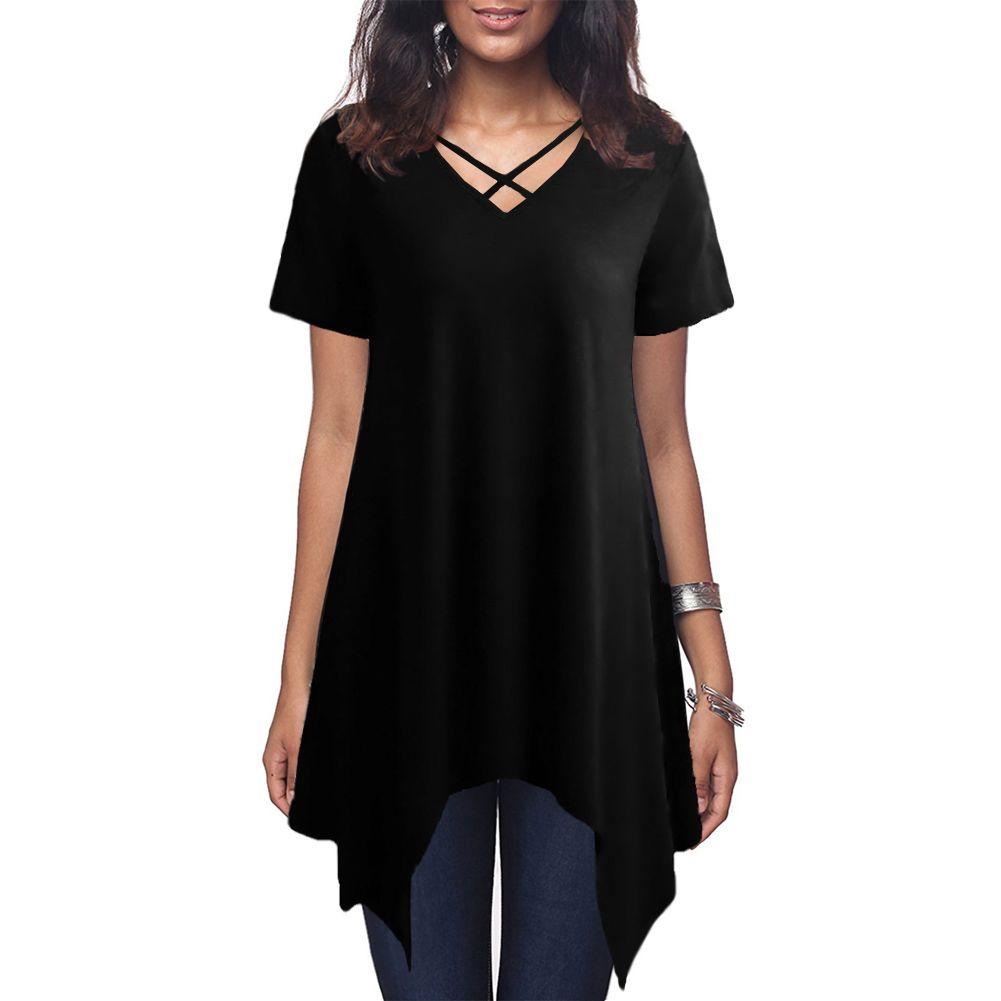 1105c7dd941a Las mujeres atractivas de gran tamaño asimétrico camiseta Criss Cross V  cuello manga corta camiseta sólido suelto túnica informal negro verano ...