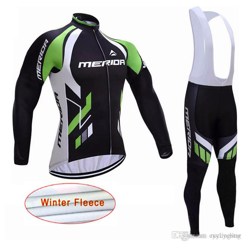 New 2018 Merida Team pro mens Cycling Jersey Winter Thermal Fleece long sleeve Bike Wear mtb bicycle clothing 82303Y