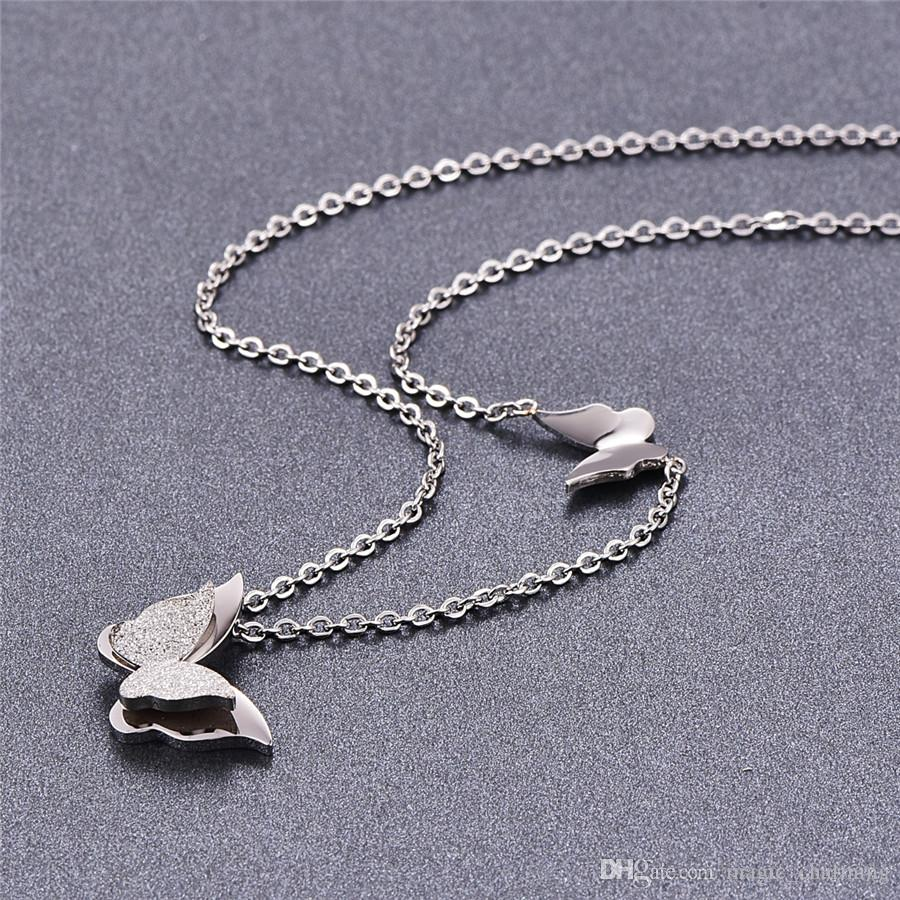 Титановая сталь розовое золото цвет мода женщины двойной бабочка кулон ожерелье / праздник кулон ожерелье для нее по низкой цене