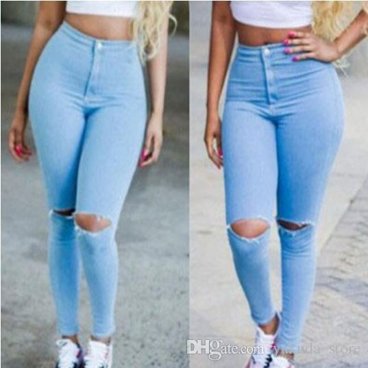 e3e9cba1da0ce 2019 Hot Sexy Women Denim Jeans Girls Distressed Jeggings Ladies Stretch  Pencil Pants Fashion Casual Trousers Free Dropshipping From Yakuda store