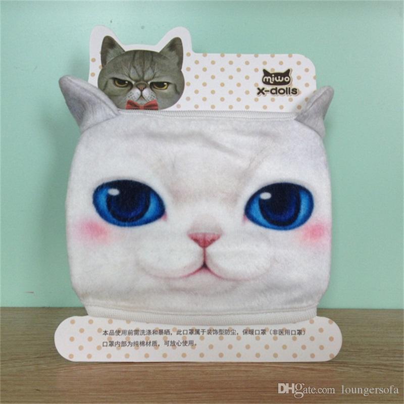 New Pattern Outdoors Cotton Dust Proof Keep Warm Half Face Mask Cartoon Lovely Cat Print Masks 3 7ak W