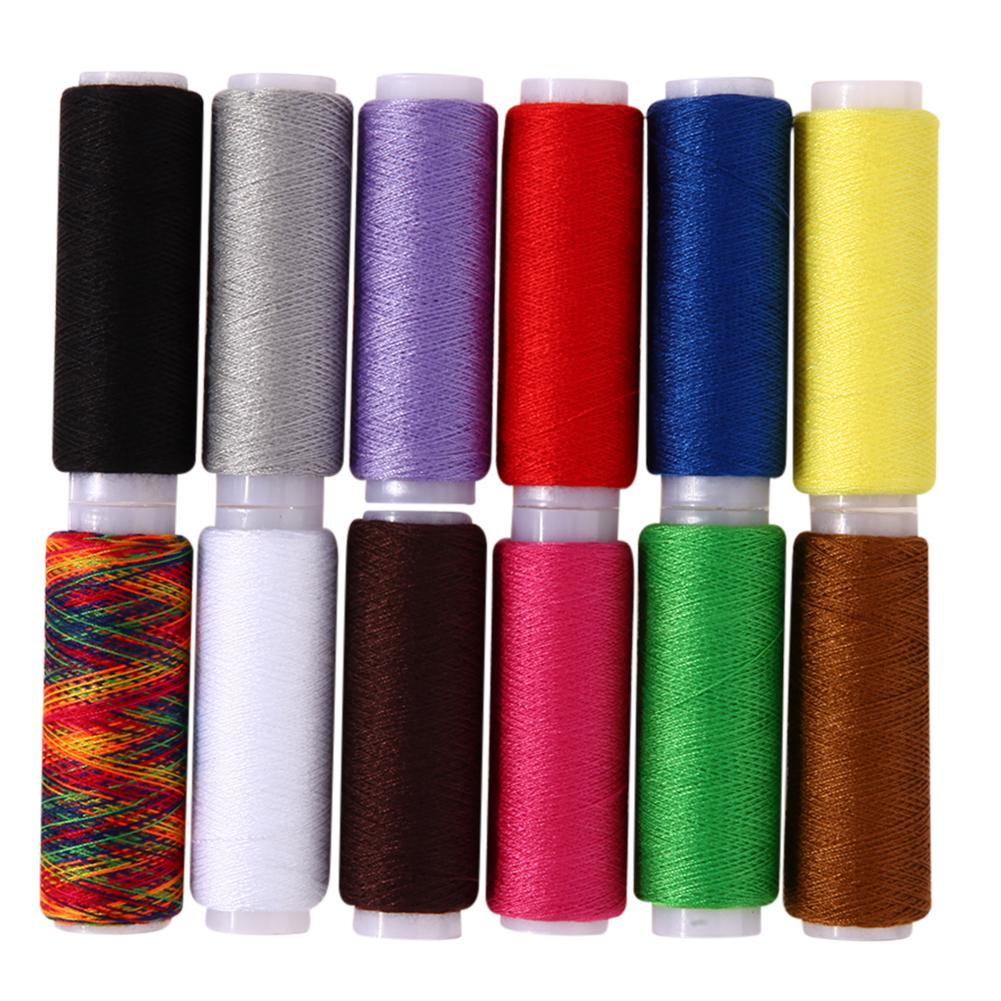 12pcs Polyester Spools Sewing Threads Mixed Colors Hand Sewing Machine Yarn  Knitting Threads Cones DIY Accessories